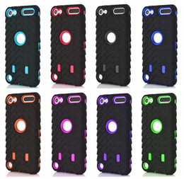 Pneu Pneu Vroom Hard PC Plastique + Soft Hybrid Layer Case Pour Ipod Touch 6 6G 6th 5 5th Ipod6 Ipod5 Dual Couleur Voiture Pneu Shockproof Skin Cover