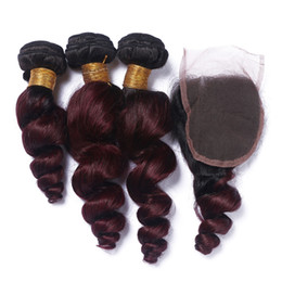 Discount ombre brazilian loose wave closure Wine Red Ombre Loose Wave Hair Extensions With Lace Closure 4Pcs Lot Two Tone 1B 99J Burgundy Ombre Hair 3 Bundles With Closure