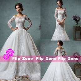 Wholesale 2016 Full Lace Beach Wedding Dresses Cheap with Detachable Train Over Skirts Plus Size Sheer Long Sleeve Amelia Sposa Sequins Bridal Gowns