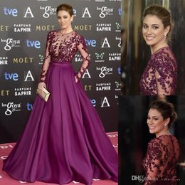 Wholesale Zuhair Murad Burgundy Red Carpet Evening Dresses Long Sleeve Beads Applique Sheer Necklines Illusion Bodice Formal Prom Gowns Party Dressess
