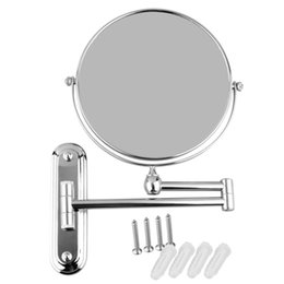 Wholesale High Quality 8 Inch Stainless Steel Wall Mounted Extending Folding Double Side 5x Magnification Mirror For Bathroom