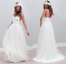 Wholesale Sexy Simple Summer Beach Wedding Dresses Lace Vintage A Line V Neck Spaghetti Backless Bohemian Boho Bridal Gowns