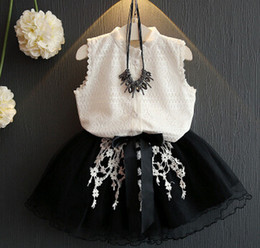 Wholesale 2016 New Summer Kids Girl Clothing Fashion Lace Sleeveless Shirt Tosp Skirt Sets Children Korean Princess Clothes Outfits A11368