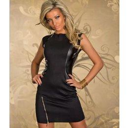 Wholesale Fashion New Black Rock design Dress Top en cuir PU Sexy Dance Club Wear style patchwork Femmes Vêtements Nouveauté Robes Zipper
