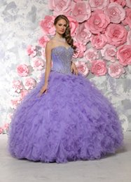 Wholesale Cheap Vestidos De Anos Sweetheart Beaded Lavender Quinceanera Dress Gowns debutante gowns Sweet Dresses