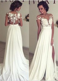 Wholesale 2016 Summer Bohemian Chiffon Wedding Dresses Cheap Sheer Crew Neck Lace Appliques High Spplit Hollow Back Boho Beach Long Bridal Gowns
