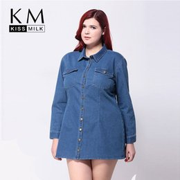 Plus size blue jean shirt dress