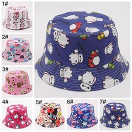 Wholesale kids bucket hat cap baby summer hats boy girls sun hats canvas beach hat high quality children caps cartoon animal hats visors cap