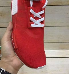 Wholesale 2016 New ORIGINAL all Red NMD FUCK EM MAN running shoes WOMEN sport sneakers with original shoe box