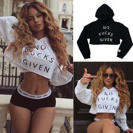 Wholesale Sexy Women Letter Print Crop Hoodie Sweatshirt Jumper Sweater Pullover Tops Coat