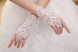 Wholesale Lace Floral Rhinestone Wedding Evening Patry Prom Short Bridal Fingerless Gloves