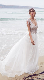 Wholesale boho wedding dresses anna campbell bridal gowns cascading beaded over bodice lace sheath v neckline wedding gowns