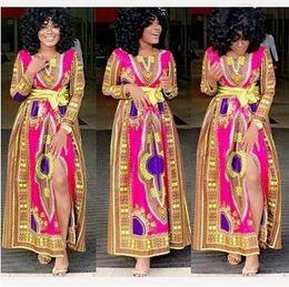 Afrique dashiki Robes Femmes Africaines Vêtements Robe Succunct africains tranditional imprimés dashiki Vêtements Robes ethnique 30pcs CCA4710