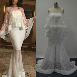Wholesale Real Images Sexy Mermaid Evening Dresses Appliqued Beaded Jewel Lace Cape Cloak Illusion BackSweep Length Formal Gowns