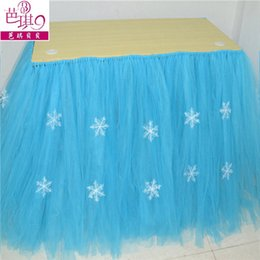 Wholesale Tulle Blue Table Skirt Tutu Table Christmas Decorations white Snow in Stock Birthday Baby party cm cm Tutu Wedding Supplies