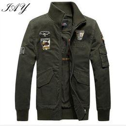 Wholesale Otoño alemán Ejército estilo de los hombres de la chaqueta suelta capa ocasional sólido ejército abrigo masculino homme prendas de vestir exteriores verde de alta calidad M XL