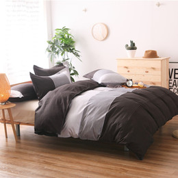 Grey Stripe Brief Bedding Set Cotton Blend Duvet Cover Bed Sheet Sets Double Queen King Size 3pcs Bedding