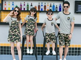2017 mos field Parentage Clothes Family Sets Lovers Clothes Camouflage suits Short Sleeves Sport Suits Two Pieces Sets cotton Camouflage Field equipment