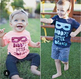Wholesale 2016 INS hot baby girl boy kids infant toddler Summer clothes pajamas short sleeve shirt blouse tops Mask superman Daddy s little sidekick