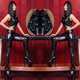 Wholesale New Arrival Black Leather Bondage Jumpsuit Sexy Queen Wetlook Punk Gothic Latex Catsuit Stripper Pole Dance Club Lingerie
