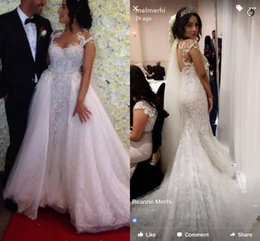 Wholesale Luxury Full Lace Wedding Dresses Sexy Over Skirts Detachable Train Sweetheart Pearls Backless Vintage Wedding Bridal Gowns Custom Made