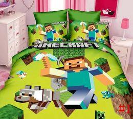 Hot Minecraft Literie set = Couette + drap de lit + Housse d'oreiller Single / Twin Taille Enfants 3D Literie Housse de couette Plat Plan Minecraft set 1set navire