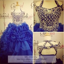 Wholesale 2016 Glitz Girls Pageant Dresses For Teens Ball Gown Halter Crystal Beaded Puffy Ruffles Royal Blue Skirt Little Girls Pageant Gowns Size