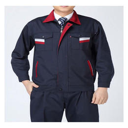 Wholesale Long Sleeve Work Uniform Clothes Suit Engineering Overalls Five Size Best Selling Delicate Craft Super Fabric Comfortable Blue Stripe
