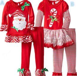 2017 cotton gauze patterns Christmas suit New pattern Girl Santa Claus stripe Gauze skirt Bell-bottoms Two piece suit 90cm-130cm Wholesale sales