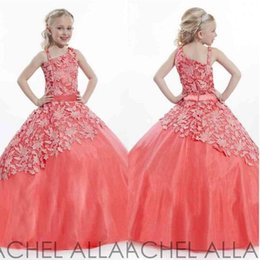 Wholesale White Red Lace Pageant Dresses For Teens Floor length Charming Flower Girls Ball Gown Purple Little Girl Pageant Dresses