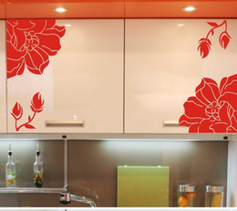 ome Decor Wall Sticker Home Decor Poster Kitchen Cabinet Wall Stickers  Fashion Elegant Flower Manglers Wardrobe Decals Refrigerator Washi.