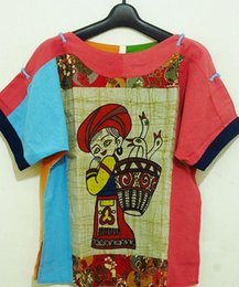 Wholesale The Miao nationality batik hand painting cloth T shit with Chinese folk culture