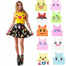 Poke Mon Cosplay Crop Tops Lolita Girls Camisole Vest Tank Tops Shirt Blusa Pocket Monster Tank Tops Kawaii Clothes