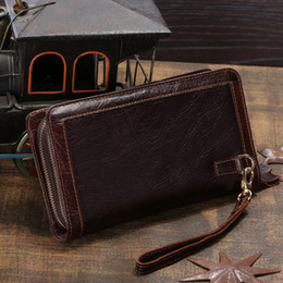 online shopping NEW Men s cow Leather Business Wristlet Zippered Clutch Bag Handbag Organizer Wallet Purse wallets for men