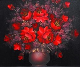 discount custom size frames pure handcraft red flowers arts oil painting on high quality canvas for