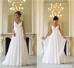 Wholesale Grecian Summer Beach Wedding Dresses Cheap Chiffon V Neck Backless Hand Made Flower Sash Long Bridal Gowns Custom Made EN52510