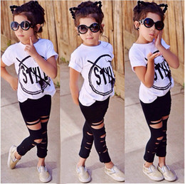 Wholesale 2016 New Fashion Kids Girls Clothes Set Little Girl Summer Short Sleeve T Shirt and Hole Pant Leggings Outfit Children Set