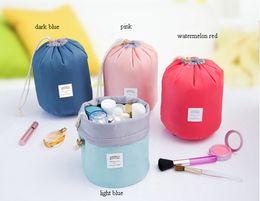 online shopping New Korean elegant large capacity Barrel Shaped Nylon Wash Organizer Storage Travel Dresser Pouch Cosmetic Makeup Bag For Women