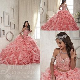 Wholesale Organza Sparkly Crystal Two PiecesCoral New Quinceanera Dresses Custom Make Ruffles Skirt Sweet Girls Formal Occasion Party Dress