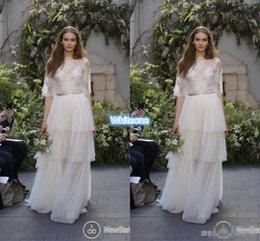 Wholesale Summer Bohemia Beach Wedding Dresses Plus Size Top Lace Skirts Full Length Tulle Half Sleeve Cheap Sheer Monique Lhuillier Bridal Gowns