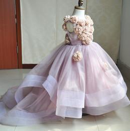2017 Pink Тюль бальное платье девушок цветка платья с ручной Дети Birthday Party для свадебных платьев причастию Маленькие девочки носят MC0203