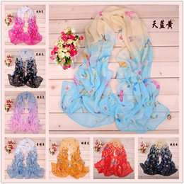 2017 women scarves dhl shipping Women scarves wholesale and sell lots of cute little butterfly printed chiffon scarves wholesale DHL free shipping