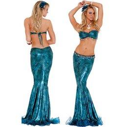Wholesale Disfraces azules mayor encantador atractivo de Cosplay del traje del traje de la sirena Ideas de Halloween para adultos Mujeres sirena del traje L1264