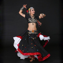 Wholesale ATS Performance Women Gypsy Costume Set Piece Bra Top Hip Belt Adjustable Fit Vintage Metal Chain Tribal Belly Dance Coins
