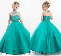 Wholesale Glitz Hunter Green Halter little Kids Girl s Pageant Dresses Ball Gowns Toddler Beaded Crystals Long Flower Girl Dresses for Teens