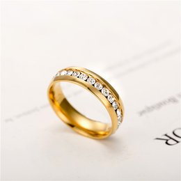 wholesale 18k gold plated crystal wedding rings for women stainless steel ring promotion discount - Discount Wedding Rings Women