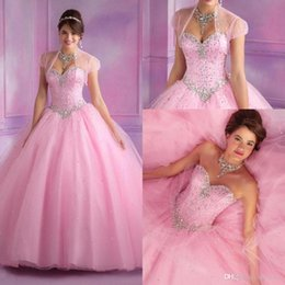 Wholesale Pink Hunter tulle Beaded quinceanera dresses with Jacket halter floor length sweet Crystals ball gown quinceanera gown cheap BA3211
