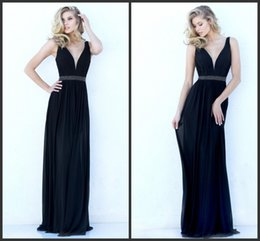 Wholesale Black Prom Dress Long Formal Gown Deep V Neck Black Chiffon Dress Bridesmaid Dress Prom Dresses for Teens