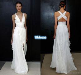 Wholesale 2017 Sheath Wedding Dresses for Greek Goddess Simple Brides Wear Sale Cheap Long Pleated Split Full Length Skirt Bohemian Boho Bridal Gowns