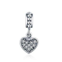 Real стерлингового серебра 925 кулон сердце с циркон DIY ювелирных изделий для аксессуаров Pandora браслет освобождает перевозку груза